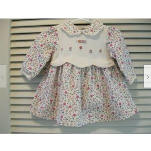 Little Me Dress Flowers Embroidery Size 6 Months
